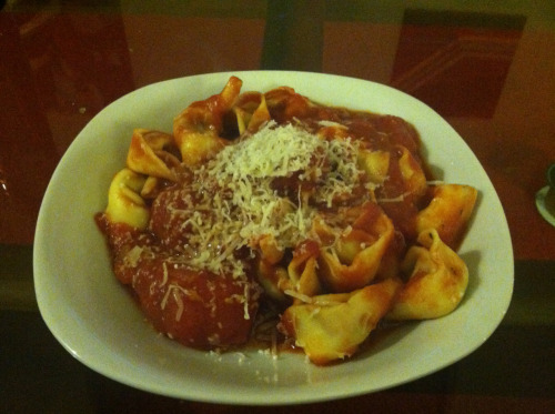 Pesto Tortellini (Trader Joe's) with Homemade Pomodoro Sauce (plum tomatoes, tomato paste, basil, mushrooms, shallots, garlic) and Grated Cheese, Homemade, Philadelphia, PA