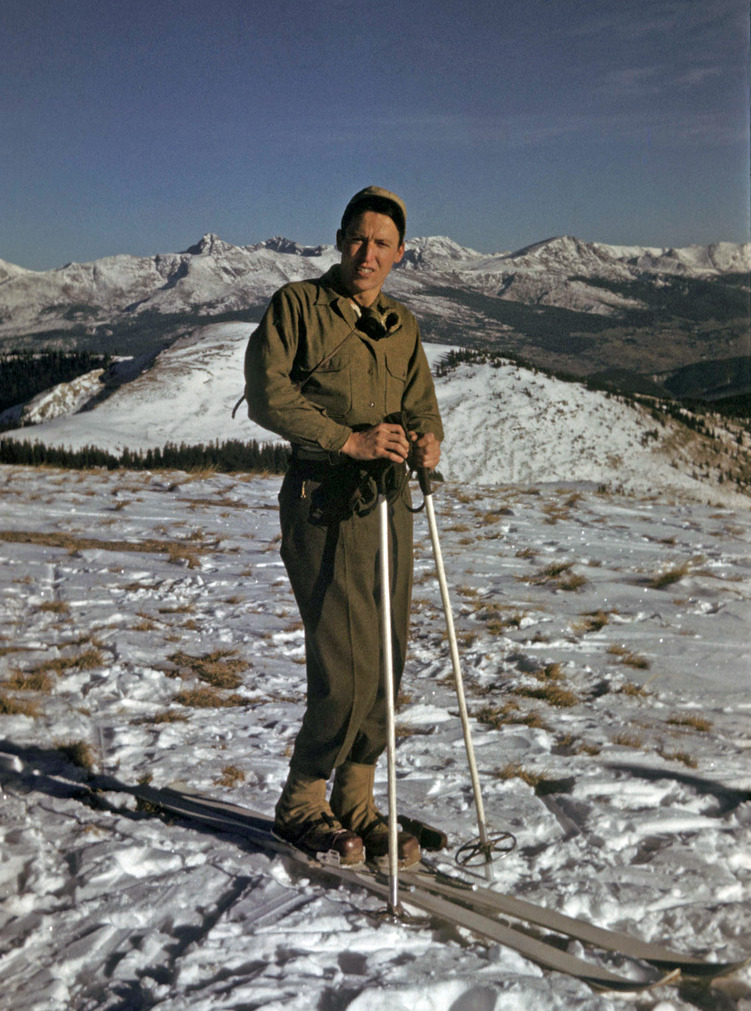 Joseph Acebo above Camp Hale in Colorado. Camp Hale was a U.S. Army training facility constructed in 1942 for what became the 10th Mountain Division.