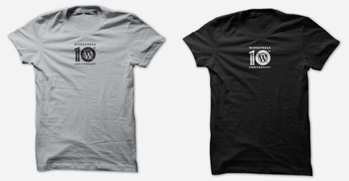 WordPress 10th Anniversary T-Shirt Printed on Bella 6004 or Canvas 3001 and available for $10.