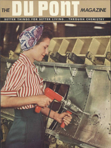 Mrs. Lavon Moser riveting a bomb bay door, 1944