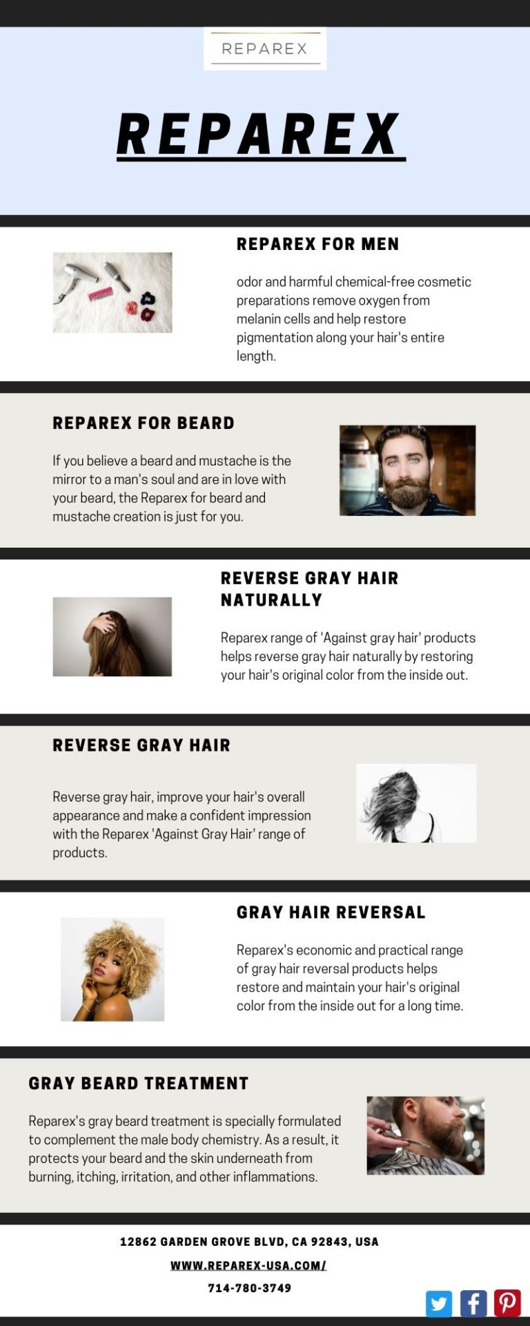Reparex range of Against gray hair products helps reverse gray hair naturally by restoring your hairs original color from the inside out. #Reverse Gray Hair Naturally  #Supplements to Reverse Gray Hair  #gray hair care products  #Stop Gray Hair  #Reparex for Mustache  #Reparex for Beard