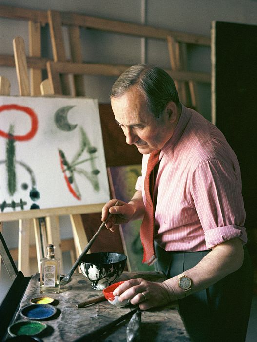 Joan Miro in his studio in Montroig, 1957.  Photo by Ernst Schneidegger