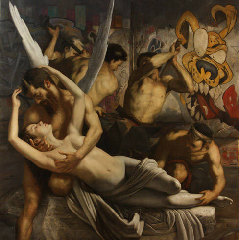 "Masterful painting by Cesar Santos titled ""Psyche and I"". Oil on canvas 56"" x 56""."