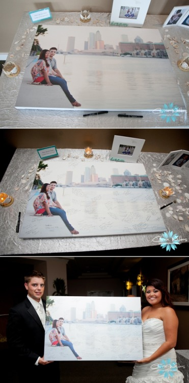 """Unique Guest book Idea! Have your wedding guests sign a canvas print of your engagement photo."""