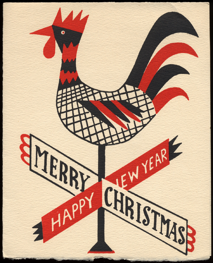 c86:  Rooster Weathervane Christmas Card, c. 1950s via Roadsidepictures