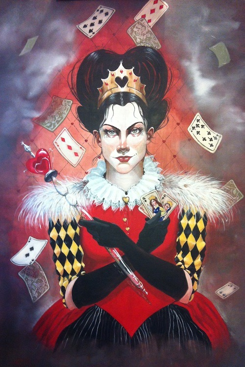"The Queen of Hearts  ©2012 Catherine E. MooreAcrylic on wood panel24"" x 36"""