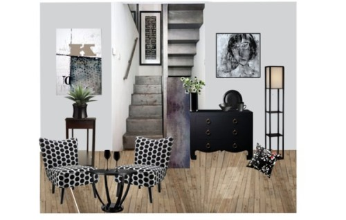 "grey and black by akaclem ❤ liked on PolyvoreBungalow 5 Jacqui 4 Drawer Chest in Black / Draper Slipper Chair / Threshold Square Floor Lamp with Paper Shade and Shelves - Black/… / OKA Round Lexington Dining Table, Small, $925 / Ashley Millenium Emory Console Table / Simon Pearce Barre 4 pc Place Setting (with 6"" Bowl) / LSA Flower Colour Black Cylinder Bouquet Vase - 28cm, $47 / Linea Ghost black wine glass, $8.72"