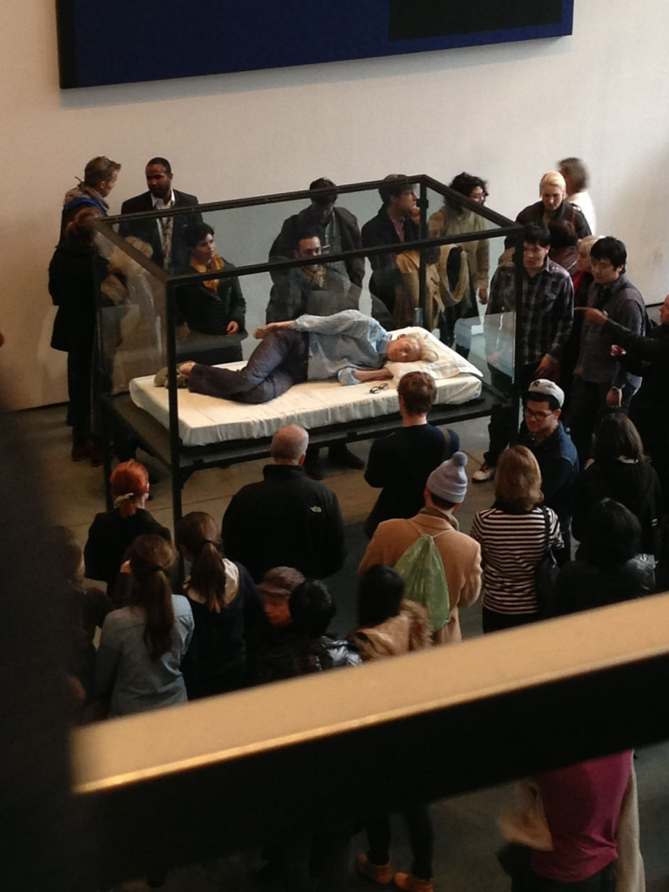 "I don't always get ""art"" - Tilda Swinton asleep in a glass box at the MoMA."
