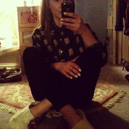 Slippers, Bart Simpson shirt.