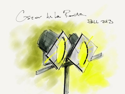 Bright lights at Oscar de la Renta Fall 2013 runway show Sketch by Emilie Baltz