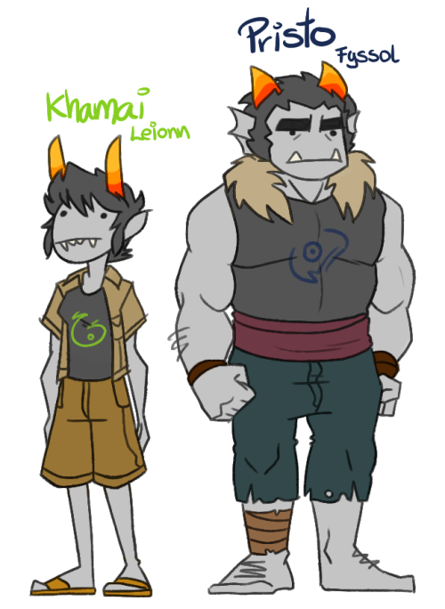 sarkyfancypants:  What the heck, fantrolls. I present you Khamai and Pristo. The chameleon and the caveman, dee doo. These two buggers are moirails. And that's all I've got so far. There's a third fantroll on the process of being designed but I'm too lazy right now so screw that I'm doing it later.