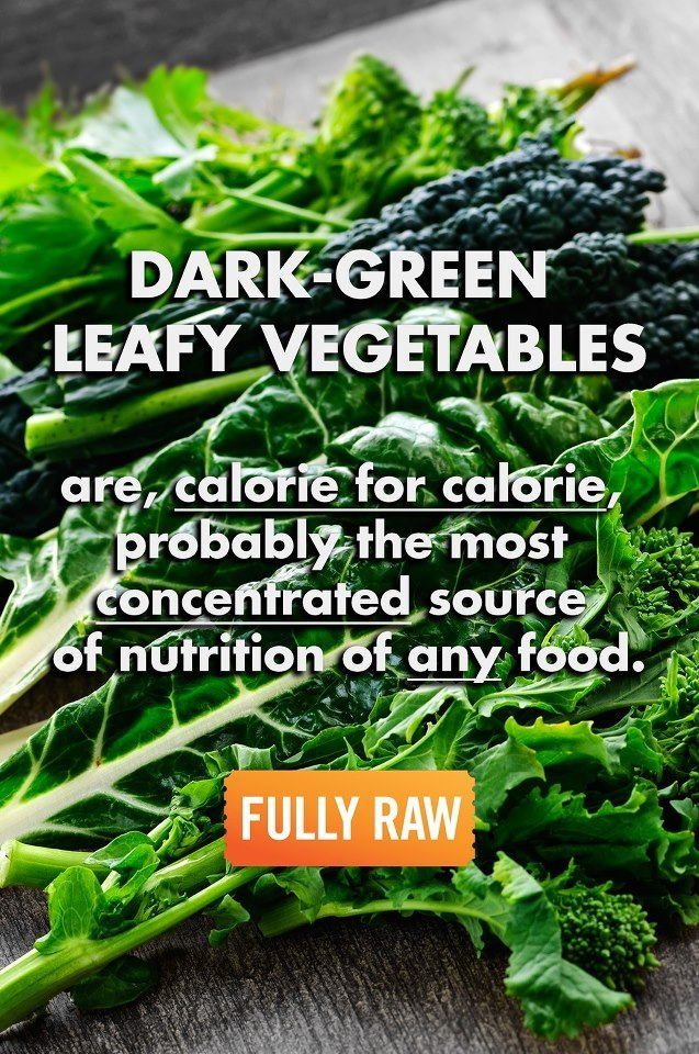 TRUTH: Dark green leafy vegetables are, calorie for calorie, the most concentrated source of nutrition of any food. They are a rich source of minerals (including iron, calcium, potassium, and magnesium) and vitamins, including vitamins K, C, E, and many of the B vitamins. They also provide a variety of phytonutrients including beta-carotene, lutein, and zeaxanthin, which protect our cells from damage and our eyes from age-related problems, among many other effects. Dark green leaves even contain small amounts of Omega-3 fats. I LOVE GREENS! Do you? ♡ (FullyRawKristina)