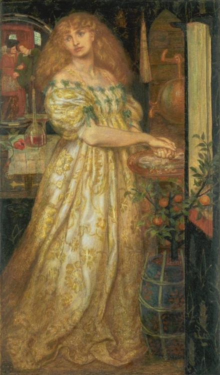 Lucrezia Borgia by Dante Gabriel Rossetti, 1860-1861. Rossetti began work on this subject in 1860 at a time when he was especially interested in the history of the infamous Borgia family. In this watercolour Lucrezia Borgia washes her hands after poisoning her husband, Duke Alfonso Bisceglie. She is aided in the crime by her father, Pope Alexander IV. The reflection in the mirror shows him assisting the Duke to walk, thereby ensuring that the poison thoroughly infects the entire body. Many years after finishing the watercolour, Rossetti revised the details of Lucrezia's face. (cr: tate.org.uk)