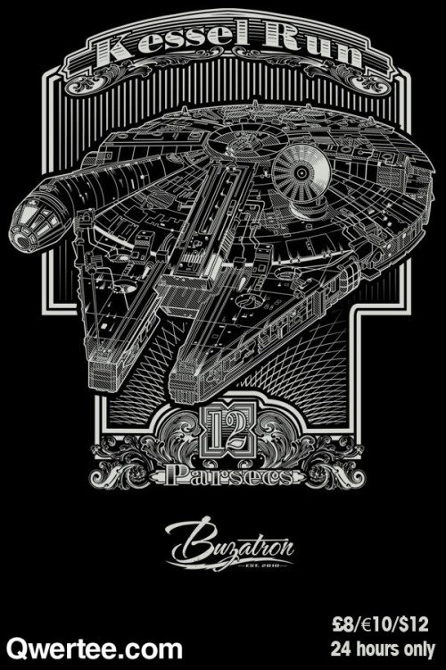 "jerrybennett:  buzatron:   ""Kessel Run"" by Buzatron available at Qwertee March 23rd at 11pm GMT for $12/£8/€10 You can follow Buzatron here: twitter 