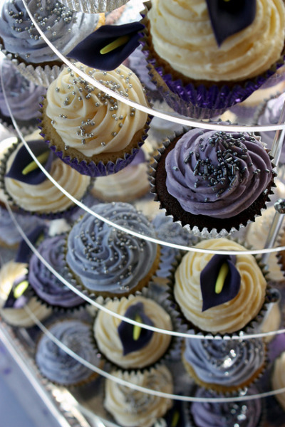 Purple Calla Lily Wedding Cupcakes by ConsumedbyCake on Flickr.