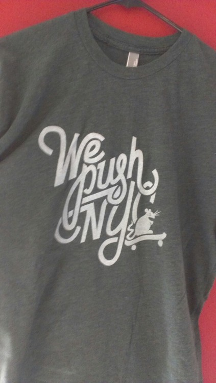 wepushnyc:  Check out our new limited edition t-shirt! Find us on the streets or get at us on email. All proceeds help send NYC youth to skate camp this summer.  Fresh tees for a good cause.