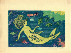 Vintage Sosaku Print by M Kubo: Mermaid. From JapanesePrintsPlus.