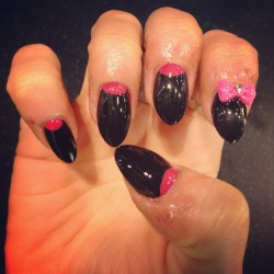 Full set of nail enhancements with half moon nail art & 3D bows by Wah gurl Lynette #nails #nailart