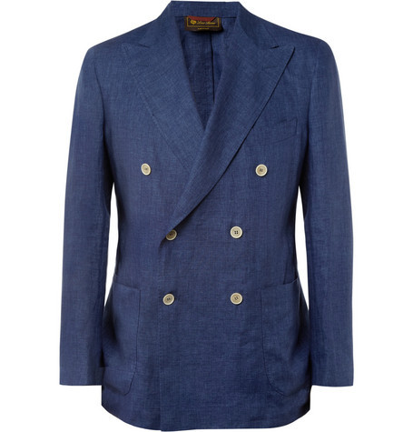 gino-j:  LORO PIANA UNSTRUCTURED LINEN DOUBLE-BREASTED BLAZER