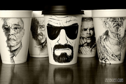 historyofcool:  Styrofoam cup illustrations by Booey Creatively detailed illustrations on styrofoam coffee cups are made with a simple black Sharpie pen by an artist who was originally just looking for a surface to sketch out his ideas on.
