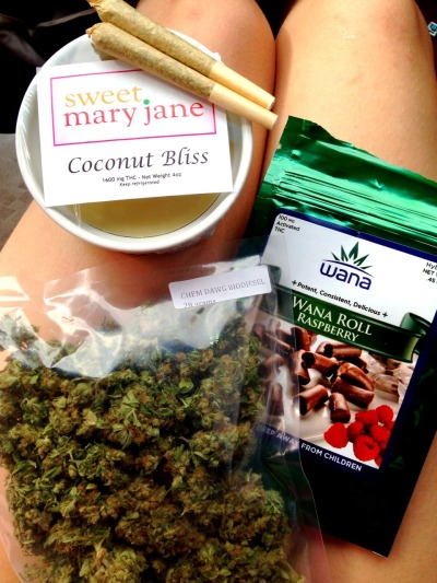 orchestraoffleshandbones:  Got my ounce, edibles, coconut cannabutter, joints annnnd a new bong I'll be posting later. Stay high