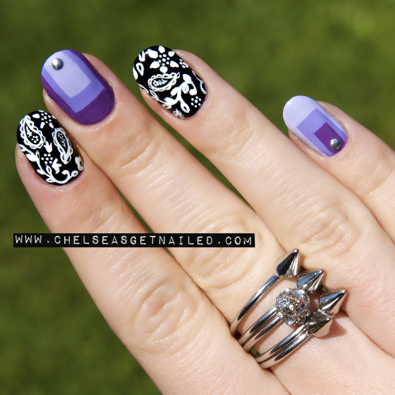 getnail-d:  Paisley + Colorblock Nails - see the post here for all the colors used!  Those square color block nails