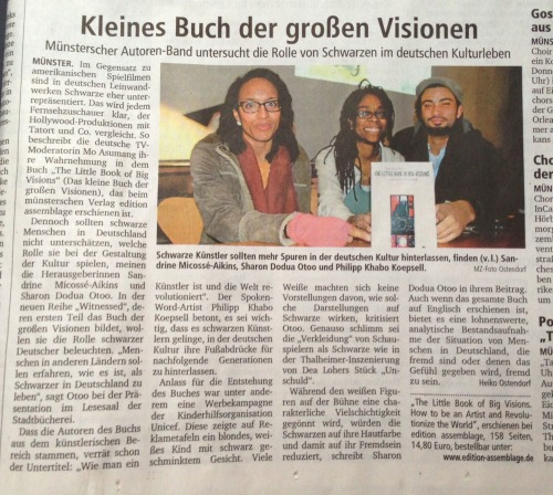 Newspaper article about the book presentation in Münster, December 2012