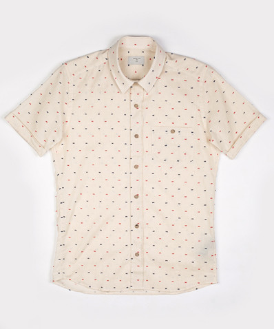 wantering:  Percival Cream Pinch Dot Shirt
