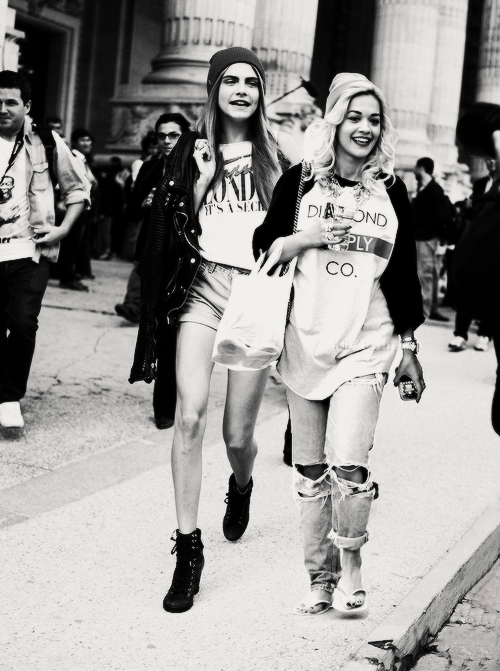 trappedinsidehisbody:  rita ora &cara delevigne | via Tumblr on We Heart It. http://weheartit.com/entry/60989186/via/jilboo
