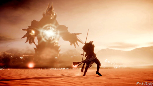 Bayek vs. huge Anubis in Assassin's Creed: Origins