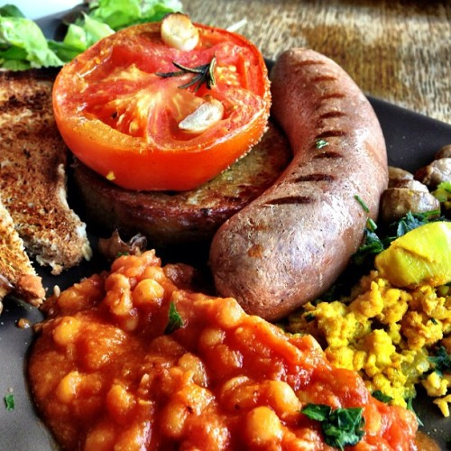 Full English breakfast vegan-style (at inSpiral Lounge)
