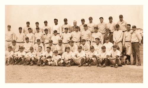 1930 New York Yankees Team St. Petersburg, Florida - March 8, 1930It's funny, the only two players in this picture who aren't wearing their Yankees jerseys are Babe Ruth & Lou Gehrig. Then again, they were kind of a big deal.