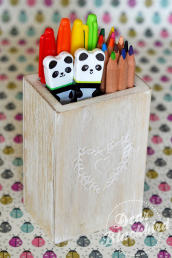 Cute wooden pencil pot £3.50Pens, pencils & pandas are photographers own!