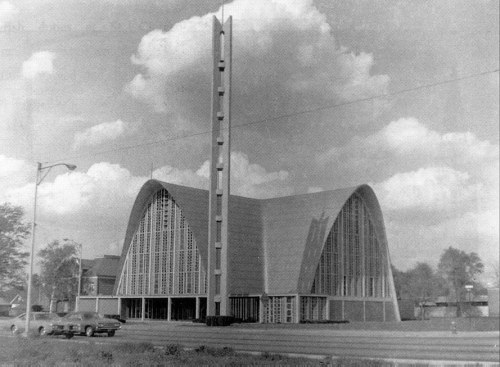 St. Clement Catholic Church in Center Line, Michigan - 1961 what it looks like now/ what it looks like in color (the roof is blue)