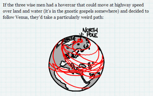 Screenshot from Randall Munroe - what if? (Three Wise Men) (2012) http://what-if.xkcd.com/25/ xkcd performs some holiday-themed spatial analysis.