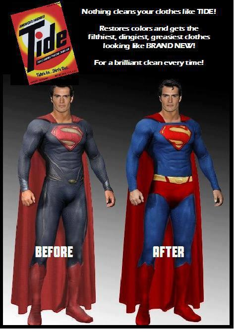 midtowncomics:  Tide does wonders for Superman's costume.  Snyder and his Washed Out Superman