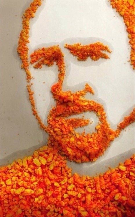 "theavc:  ""Louis C.K. - Portrait - Cheetos on breakroom table. (2013) Artist unknown but rather hungry."" Quote taken from MOMA's upcoming, highly anticipated, The Portrait Of The Artist As A Corn Chip exhibit."