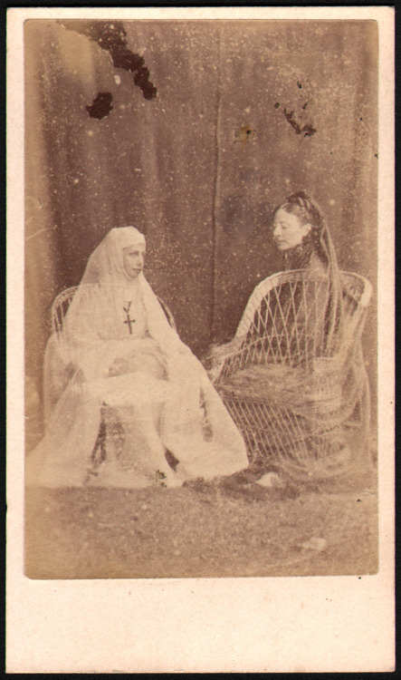 Mother's Day Nun Anonymous - c1870s spirit photograph of two ghostly figures, one of which is a young nun. … via perfect find (ebay)