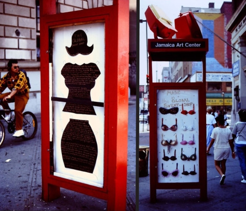 "jamaicany:  Do you remember when we had a sidewalk kiosk? In the Summer of 1994 it was filled - not with information about JCAL programs - but with ""The Global Sweatshop"" by artists Haideen Anderson and (current Community Artist-in-Residence) Rejin Leys. Those are paper mâché bras, made to call attention to the harsh labor conditions at garment factories. They definitely got some attention on the sidewalk of Jamaica Avenue that Summer."