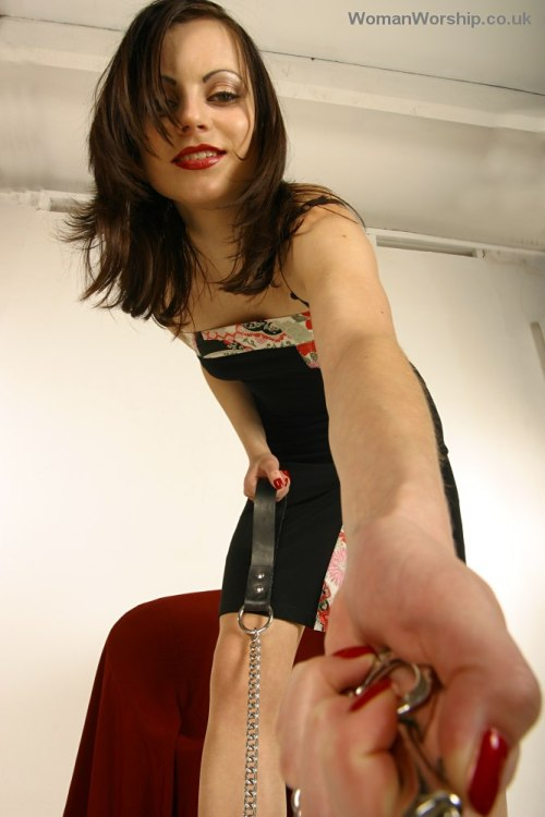 "One of those POV ""End of the leash"" views that makes me so hot. I can practically smell her perfume and sweat and feel the collar around my neck!!!"