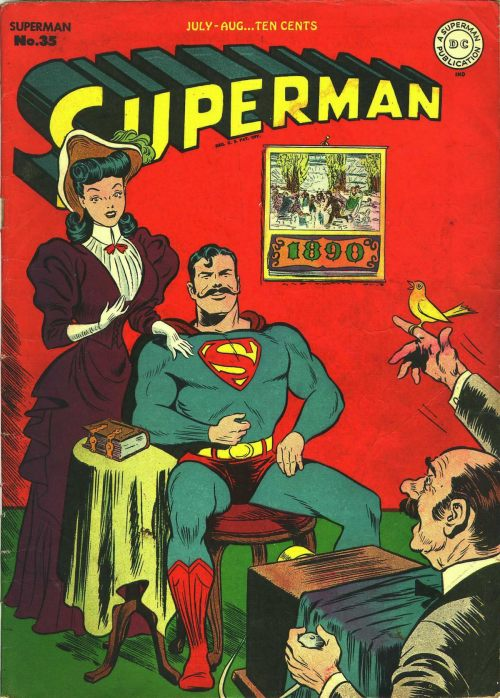 Superman and the Moustache of Destiny comicbookcovers:  Superman #35, August 1945, cover by Jack Burnley and George Roussos