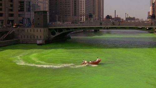 "Movie Tuesday: While in Chicago I also thought the river was already green as Fugitive exclaimed My family won a trip to stay downtown Chicago for the Big 10 basketball tournament. During our trip we were going to check out the Ol' St. Patrick's Chicago tradition of dying the river green. Immediately I became confused cause I thought the river was already in some form of the green.  When they did dye it, it was a spectacle. I was somewhat shocked. This quote from Fugitive is somewhat seldom when (I believe) Harrison Ford says it. One would think it would be said in a joking fashion but the tone of the movie did not serve as so. chicagoscreenshots:  ""If they can dye the river green today, why can't they dye it blue the other 364 days of the year?"" The Fugitive, 1993"