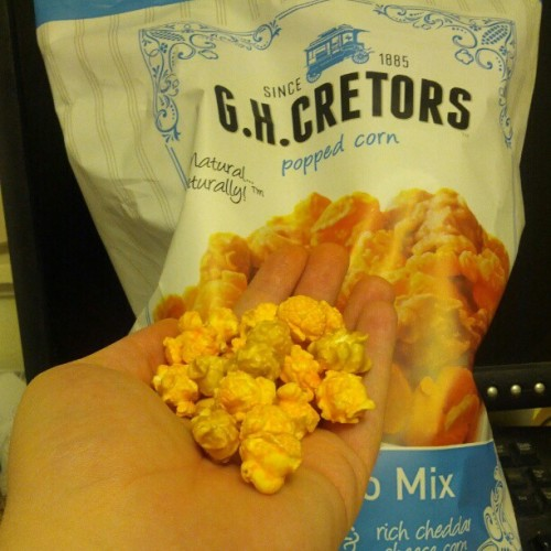 Giant bag of caramel and cheddar popcorn = 5 bucks at Costco.