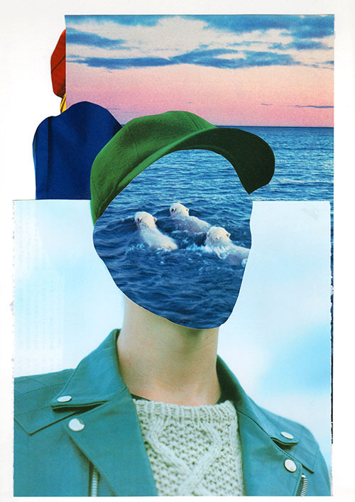 「Far in the distance」collage on paper