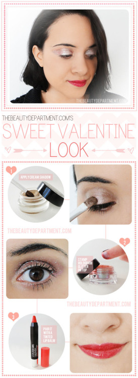 I am really loving this super romantic makeup tutorial from The Beauty Department! The pink/champagne shimmering eyeshadow plus red balmy lips is a simple way to enchant your Valentine's date.  <3 Chelsey, ModStylist  Need styling suggestions, trend tips, or dress details? Ask a ModStylist and your question might be featured on our feed!