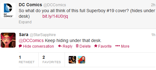 ohmygil:  daggerpen:  wafflesforstephanie:  It's like… Has DC's twitter become self-aware of its company's awfulness?  *cackling*  fn';ogjwnoigngemqbpoenqbpoeqnbqepobbo;enbfepoibn b I JUST LOOKED AT THE COVER OMG OMG OMG   … wut.