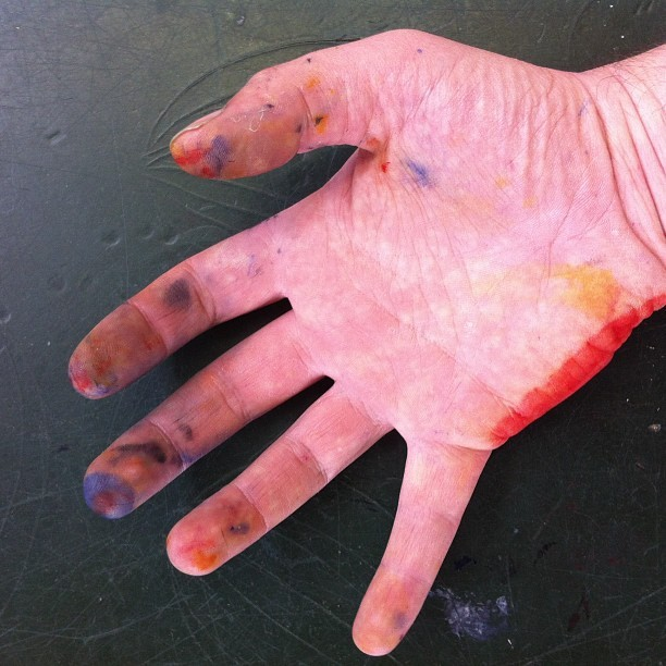 Work hand, looks like paint splattered corn beef : ( (at Morley College)