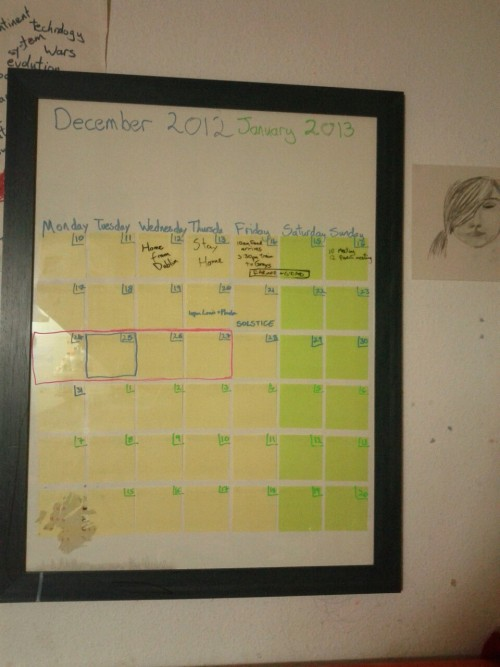 unfuckyourhabitat:  ailbhe-leamy:  Made a reusable calendar with post it notes inside the glass of a picture frame. Write on, wipe off.  Brilliant!