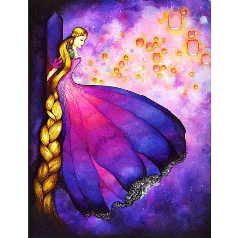 Rapunzel - Dark Fairytale Fantasy - Lantern Scene Fashion Illustration
