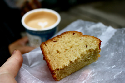 Olive oil cake and latte from Abraco by Baking with One Beater on Flickr.